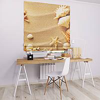 Римская штора Джуси велюр с фотопечатью Экспозиция ракушка 1500*1700 делаем любой размер