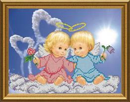 Схема для вышивки бисером Влюбленные ангелочки (22 х 30 см) СКМ-53 Княгиня Ольга