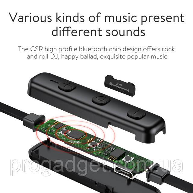 BASEUS S07 Bluetooth 4.1 беспроводные музыкальные Apt-X наушники для спорта black, Silver (черные, серебро)