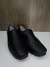 Мокасины летние  мужские из натуральной кожи МИДА 13678 черные.