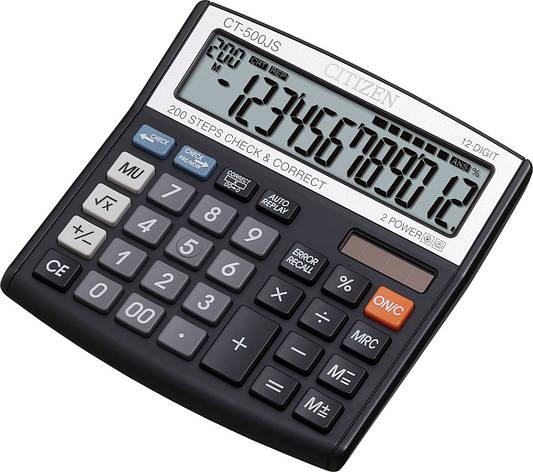 Калькулятор Citizen CT-500JS бухгалтерский с коррекцией, 12р., фото 2