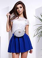 Костюм топ из гипюра и короткая пышная юбка разные цвета SMb487, фото 1