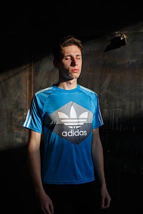 Мужская футболка Adidas Clima Cool KD-302.голубая, фото 2