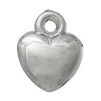 Подвеска 3D Сердце, CCB Пластик, Серебряный тон, 14 мм x 11 мм