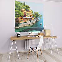 Римская штора Джуси велюр с фотопечатью Домик у воды 1500*1700 делаем любой размер