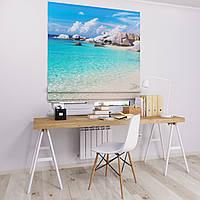 Римская штора Джуси велюр с фотопечатью Пляжный рай 1500*1700 делаем любой размер