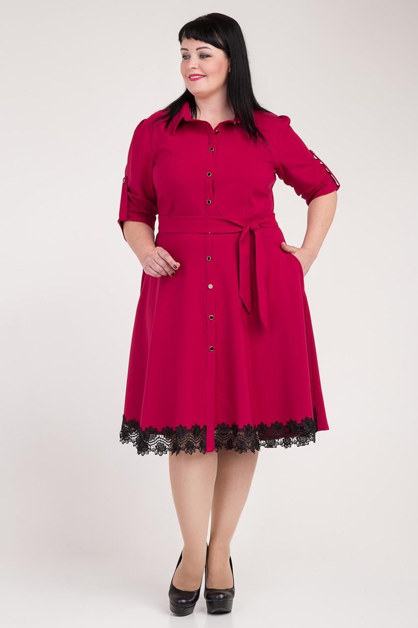 Яркое малиновое платье низ с черным кружевом - Оптово-розничный магазин  одежды