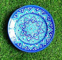 Тарелка кобальт d 23 см. Риштан/Узбекистан