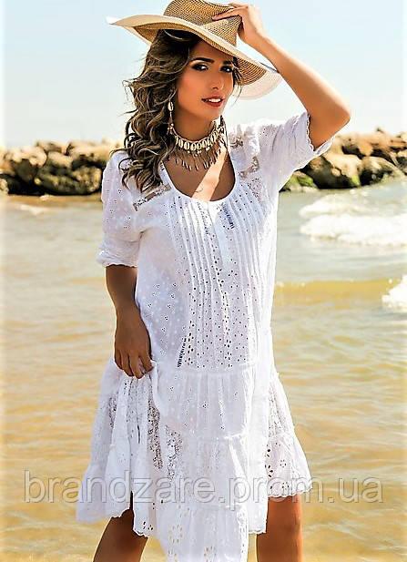 d909986ab6ff68d Летнее белое платье в стиле бохо, пляжная туника миди из хлопка, кружева  прошвы -