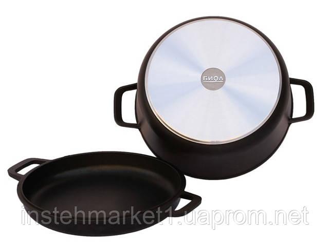 Кастрюля алюминиевая БИОЛ К502П с литой крышкой сковородкой 5 л в интернет-магазине