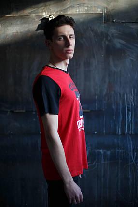 Мужская футболка Adidas KD-10125.красная с черным, фото 2