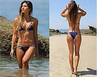 Эксклюзивный, модный, раздельный женский купальник с интересным дизайном, синего цвета c сеткой, размер M