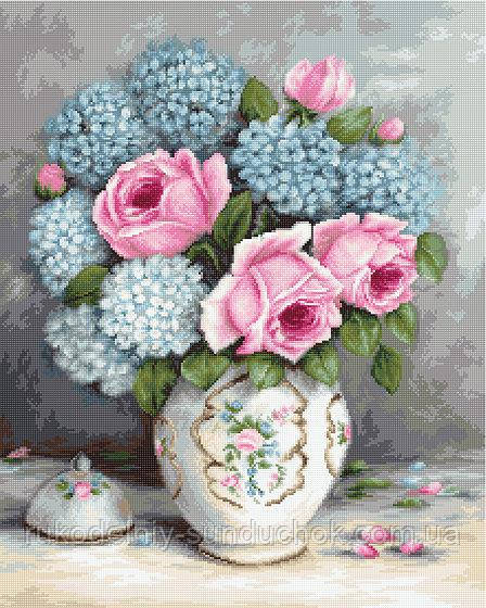 """Набор для вышивания гобелена """"Luca-S"""" G569 Розы и гортензии"""