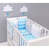 """Комплект постельных принадлежностей в кроватку (17 предметов) """"Серебрянка"""" (голубой/белый)"""