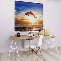 Римская штора Джуси велюр с фотопечатью Дельфин на закате 1500*1700 делаем любой размер
