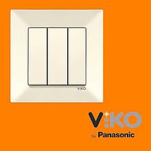 Выключатель 3-х клавишный VIKO Meridian Крем