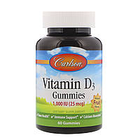 Carlson Labs, Vitamin D3 Gummies, Natural Fruit Flavors, 1,000 IU, 60 Gummies