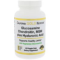 California Gold Nutrition, глюкозамин, хондроитин, метилсульфонилметан плюс гиалуроновая кислота 120