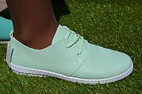 Женские мокасины кожа мятные зеленые, фото 1