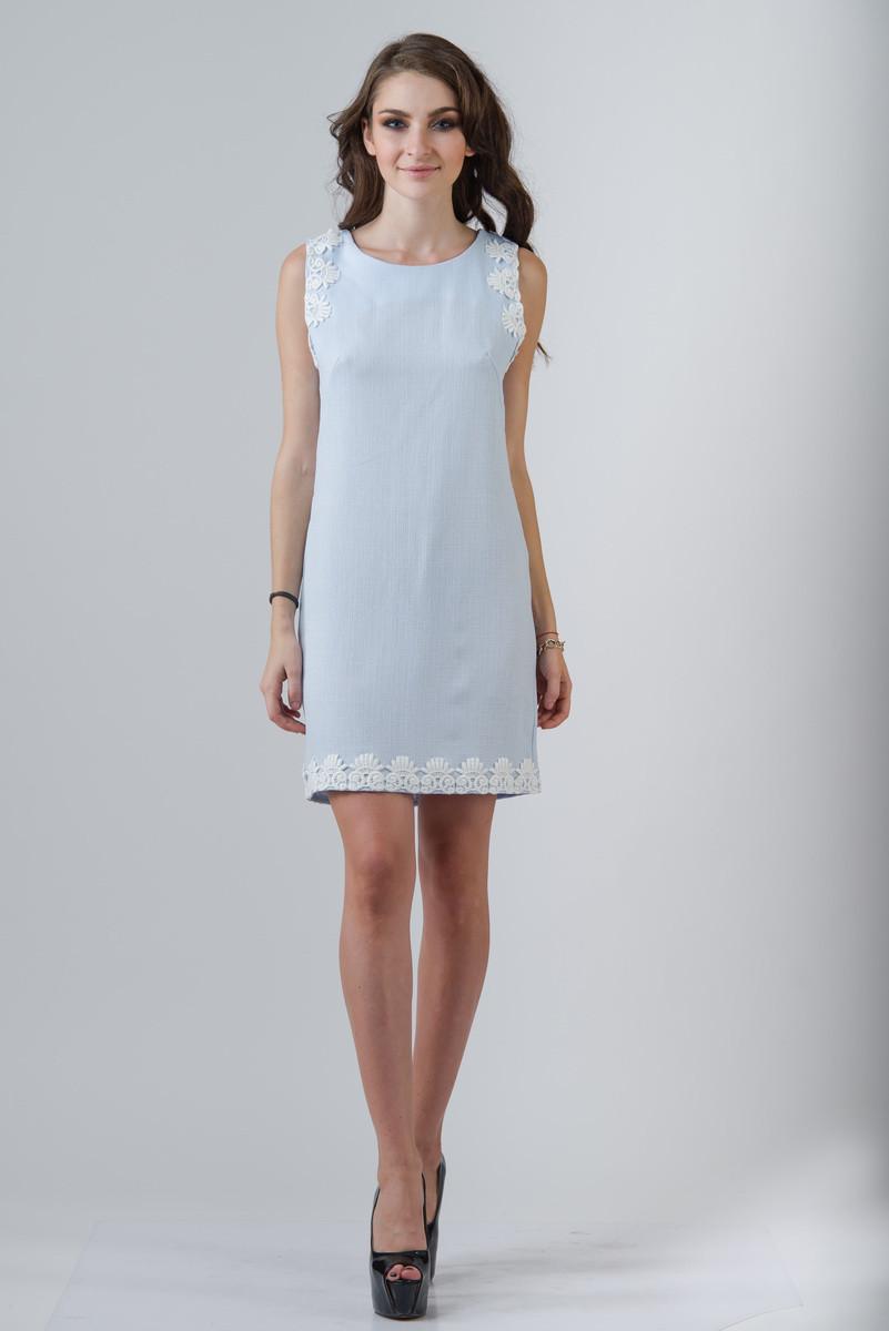 d533eb0ebe8 Льняное короткое нарядное платье небесно-голубого цвета с кружевом 7146 -  Костюмерная Плечики в Сумах