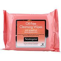 Neutrogena, Очищающие салфетки без жира, Розовый грейпфрут, 25 влажных салфеток