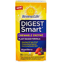 Renew Life, Digest Smart, жевательные таблетки с ферментами, ягодное ассорти, 90 жевательных таблеток