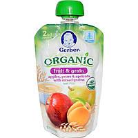 Gerber, Основное питание, Органическое детское пюре из фруктов и злаков, Яблоки, груши, абрикосы и смесь злаков, 3,5 унции (99 г)