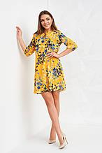 Изящное летнее платье с вырезом-каплей и резинкой на талии