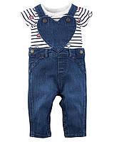 """Набор с джинсовым комбинезоном и боди Carters """"Сердечко"""""""