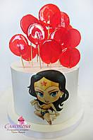 Детский Торт   для девочки подростка Чудо Женщина с леденцами (кремовый без мастики)