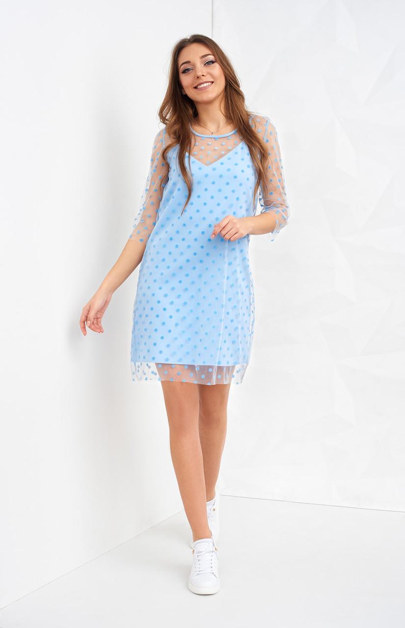 10d51d7a788 Голубое платье-комбинация на лето - Оптово-розничный магазин одежды