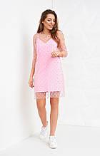 Молодежное платье розового цвета с сеткой