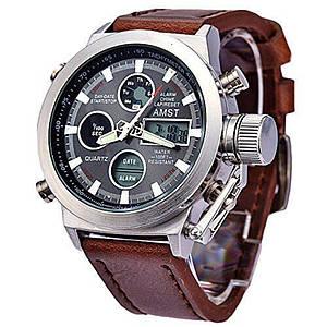 Наручные часы AMST WATCH (Черные, коричневые, серебристый)