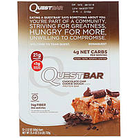 Quest Nutrition, Протеиновый батончик, шоколадная крошка, песочное тесто, 12 штук, 2,12 унц. (60 г) каждый