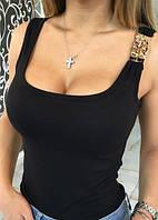 Маечка женская с украшением в виде цепочки на плече , фото 1