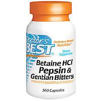 Doctor's Best, Горькая настойка из бетаина гидрохлорида, пепсина и генцианы (Betaine HCl, Pepsin & Gentian Bitters), 360 капсул