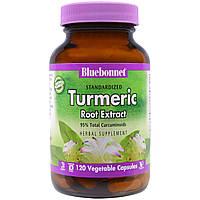 Bluebonnet Nutrition, Нормализованный экстракт корня куркумы, 120 вегетарианских капсул
