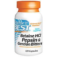 Doctor's Best, Горькая настойка из бетаина гидрохлорида, пепсина и генцианы (Betaine HCL Pepsin & Gentian Bitters), 120 капсул