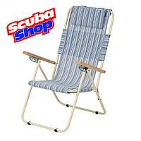 Кресло-шезлонг «Ясень» для рыбалки и туризма (текстилен голубая полоска)