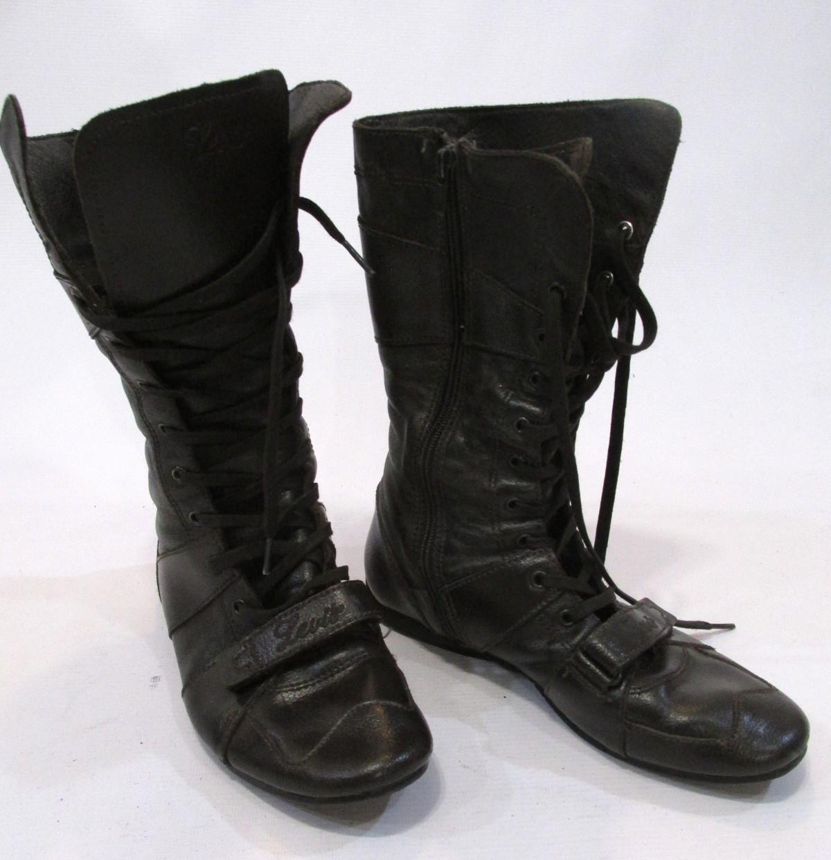 Сапожки кожаные Levi's, 39 (25.5 см), демисезонные, коричневые, Отл сост!