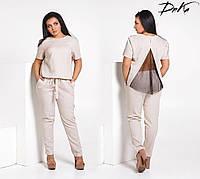 Костюм блузка с вставкой на спине и брюки батал