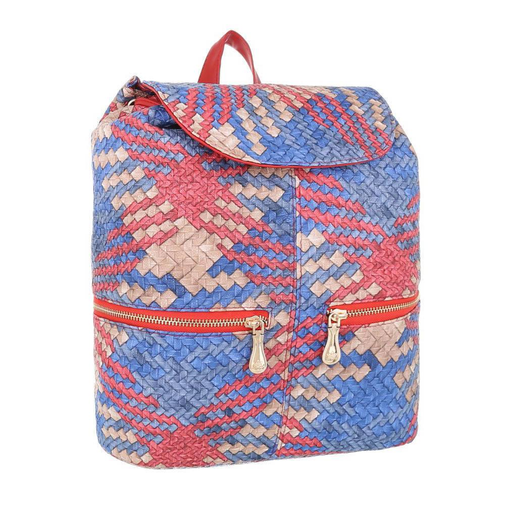 Женский рюкзак плетеный разноцветный(Европа) Красный/Синий