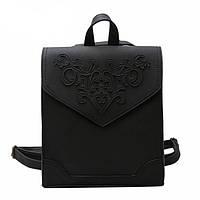 Рюкзак сумка женский городской  матовый с орнаментом (черный), фото 1