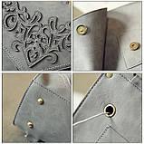 Рюкзак сумка женский городской  матовый с орнаментом (серый), фото 5
