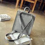 Рюкзак сумка женский городской  матовый с орнаментом (серый), фото 6