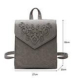 Рюкзак сумка женский городской  матовый с орнаментом (серый), фото 7