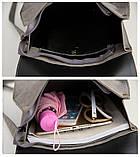 Рюкзак сумка женский городской  матовый с орнаментом (серый), фото 9