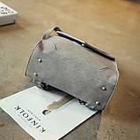Рюкзак сумка женский городской  матовый с орнаментом (серый), фото 8