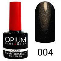 Гель лак Opium № 004 чорний шімер 8 мл