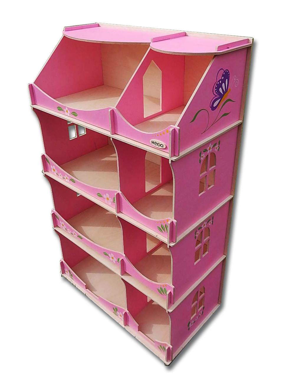 Кукольный домик-шкаф Hega с росписью розовый (090B)